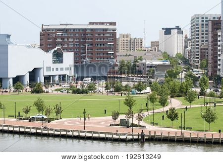 The view of Norfolk waterfront with downtown skyscrapers in a background (West Virginia).