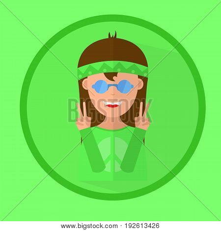 happy hippie girl with glasses shows a sign of peace. vector icon.