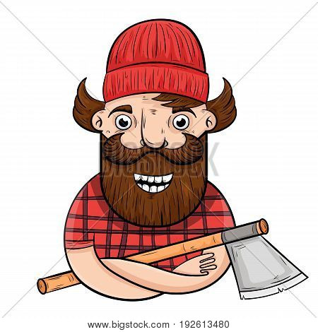 cartoon lumberjack with an axe. vector illustration.