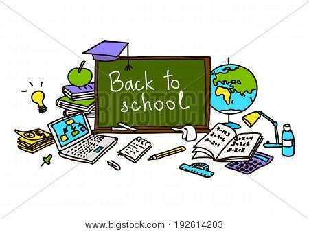 Back to school. school pack. hand drawn color set objects. Eraser globe glue goggles graduate lamp laptop notes pen pencil pin. Text on chalk board. For decoration prints tags. sketch doodle