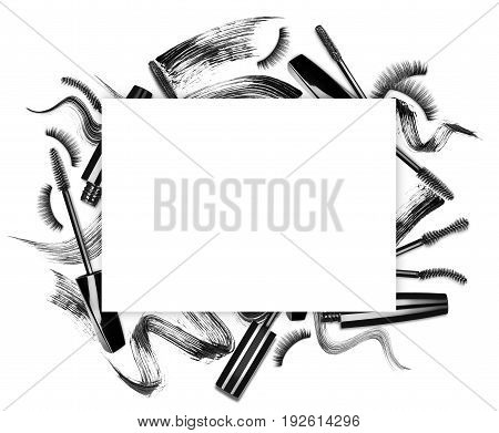 Set of mascara brushes with different strokes and promotion square frame