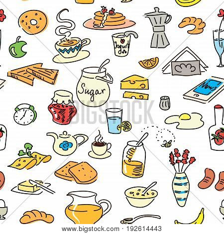 Morning breakfast doodle colored seamless pattern set. sketch objects isolated on white. Bread butter snack food milk toast jam cereal coffee croissant donut drink sugar tea For menu tag