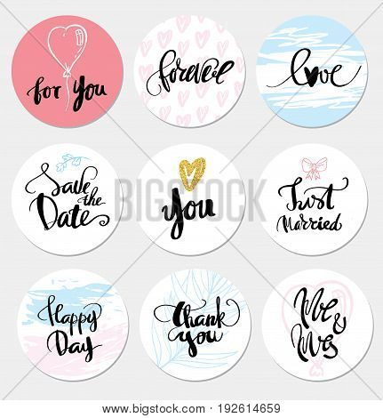 Collection of vintage wedding decorative stickers retro set of wedding circles