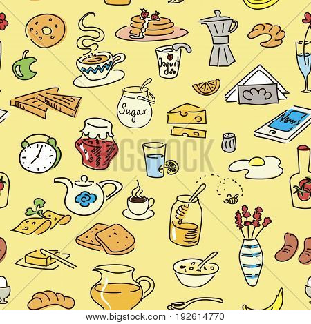Morning breakfast doodle colored vector seamless pattern. sketch. Bread butter snack food milk toast jam cereal coffee croissant donut drink tea. For menu. tags label cafe fastfood