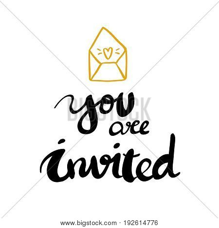 You re invited lettering design for card and posters