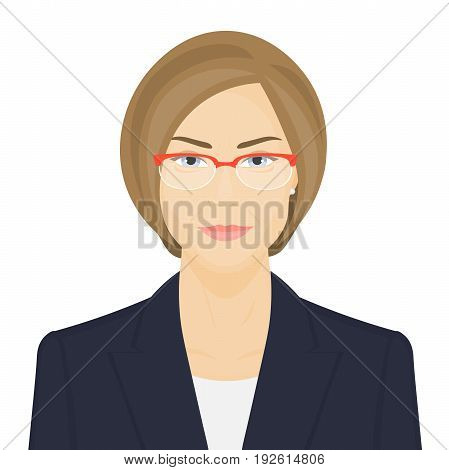 Business woman with glasses. Portrait of politician on white background. Vector illustration