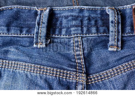 Jeans Close-up, Seams, Belt Loops. Interlacing The Fabric With A Close-up