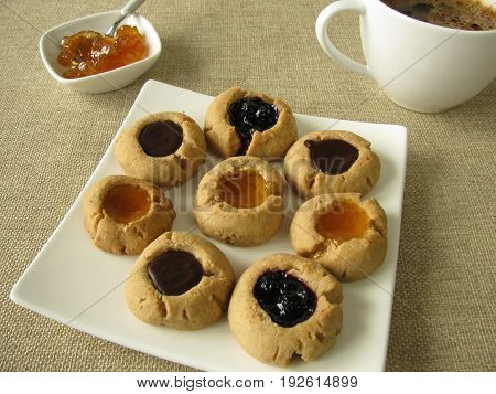 Cookies with two varieties of Jam and Carob Glaze