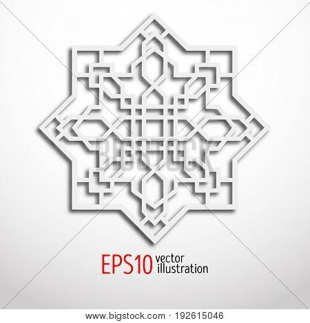 Arabesque design in 3d. Eastern pattern. Sacral geometry figure