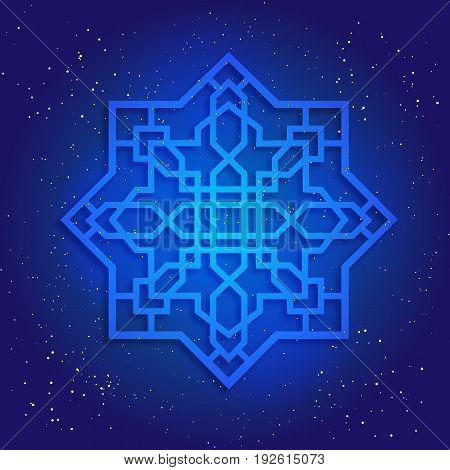Sacral geometry figure in cosmic sky. Arabesque in oriental vintage design.