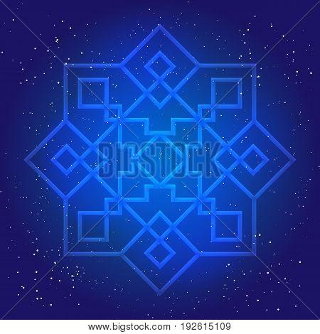 Sacral geometry figure in cosmic sky. Arabesque in oriental vintage design 3d