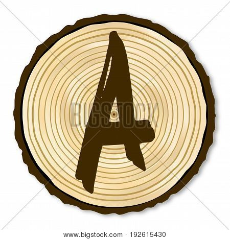 A light wood timber end section with the letter A over a white background