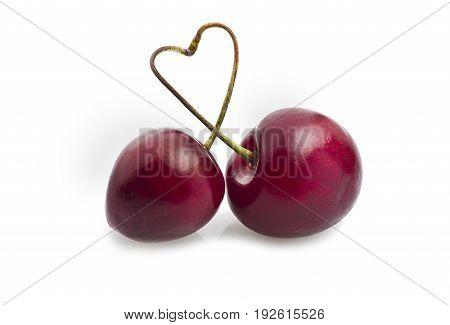 Fresh cherry close up on the white