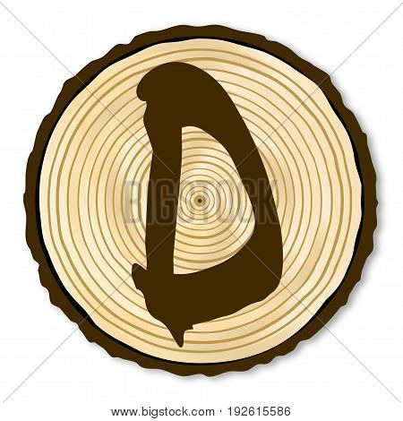 A light wood timber end section with the letter D over a white background