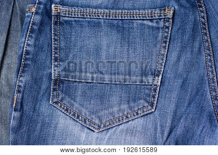Jeans Close-up. Pocket, Seams. Interlacing The Fabric With A Close-up