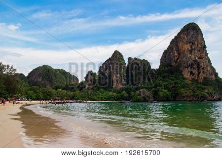 Travel To Krabi, Thailand. The Scenic View On A Beach, A Sea And The Cliffs From Railay Beach.