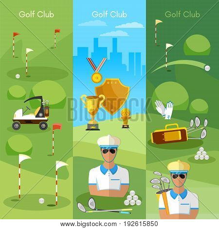 Golf club banner sports golfing elements concept equipment for golf sport competitions