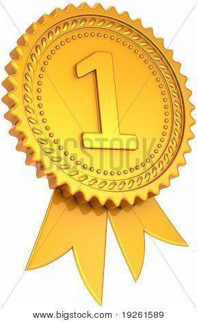 Award ribbon golden first place winner