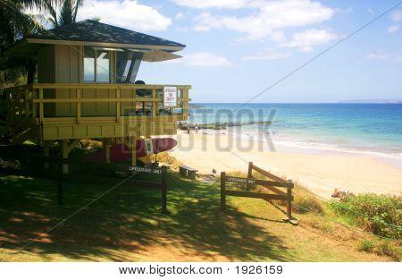 Beach Scene On Maui With Lifeguard Station