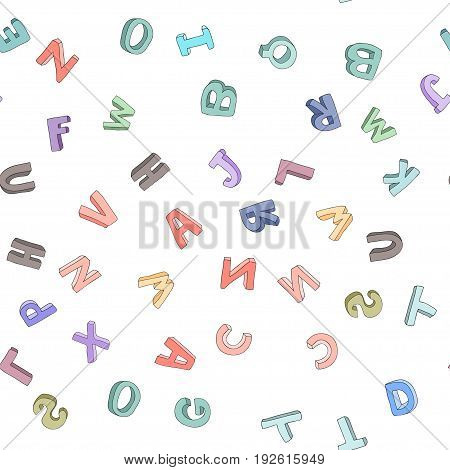 Vector seamless pattern of hand-drawn children's alphabet. 3D doodle letters. ABC font background illustration for kids.