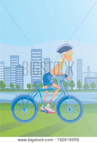 An elderly gray-haired man riding a Bicycle in a Park on the banks of the river. Active lifestyle and sport activities in old age. Vector illustration.