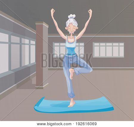 An elderly gray-haired woman practice yoga in the gym, standing on one leg. Active lifestyle and sport activities in old age. Vector illustration.
