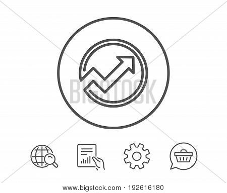 Chart line icon. Report graph or Sales growth sign in circle. Analysis and Statistics data symbol. Hold Report, Service and Global search line signs. Shopping cart icon. Editable stroke. Vector