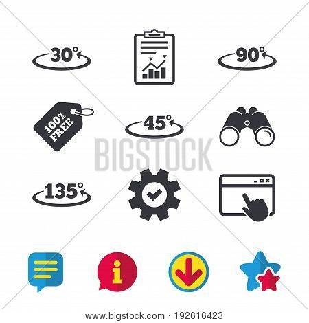 Angle 30-135 degrees icons. Geometry math signs symbols. Full complete rotation arrow. Browser window, Report and Service signs. Binoculars, Information and Download icons. Stars and Chat. Vector