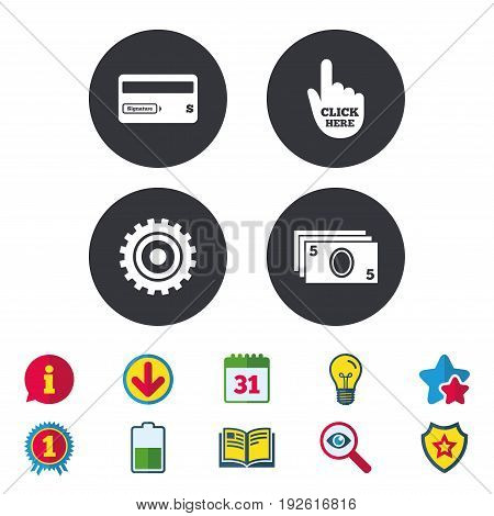 ATM cash machine withdrawal icons. Insert bank card, click here and check PIN, processing and get cash symbols. Calendar, Information and Download signs. Stars, Award and Book icons. Vector