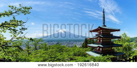 Red Pagoda on Mt. Fuji and clear bluesky background