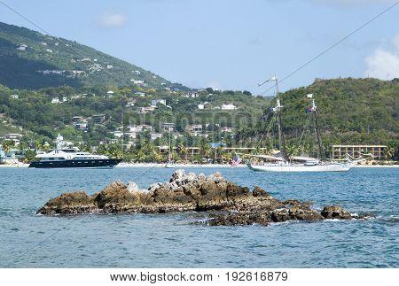 Ships drifting in Lindbergh Bay on St. Thomas island (U.S. Virgin Islands).