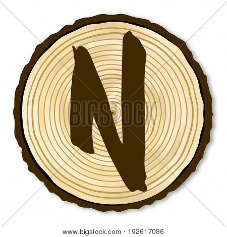 A light wood timber end section with the letter N over a white background