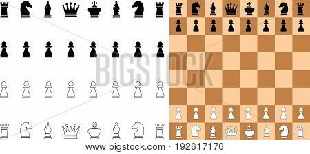 vector illustration of chess game, figures and board