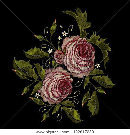 Roses embroidery. Classical embroidery buds of roses. Fashionable template for design of clothes t-shirt design blossoming bouquets of roses embroidery tapestry flowers renaissance style