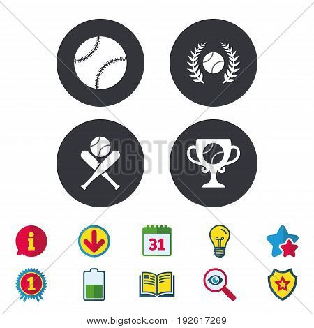 Baseball sport icons. Ball with glove and two crosswise bats signs. Winner award cup symbol. Calendar, Information and Download signs. Stars, Award and Book icons. Light bulb, Shield and Search