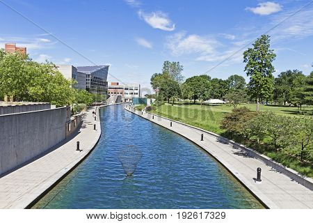 A beautiful day at scenic central canal in Indianapolis Indiana USA