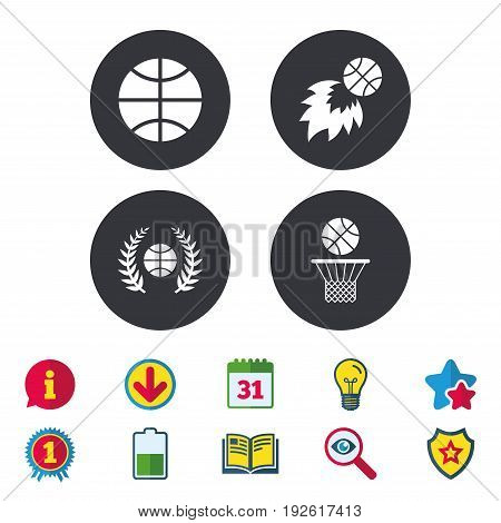 Basketball sport icons. Ball with basket and fireball signs. Laurel wreath symbol. Calendar, Information and Download signs. Stars, Award and Book icons. Light bulb, Shield and Search. Vector