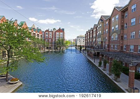 Beautiful architecture in downtown Indianapolis Indiana along the central canal