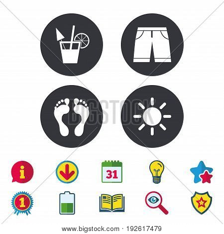 Beach holidays icons. Cocktail, human footprints and swimming trunks signs. Summer sun symbol. Calendar, Information and Download signs. Stars, Award and Book icons. Light bulb, Shield and Search