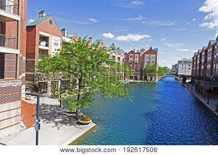 Canal and beautiful waterfront architecture in downtown Indianapolis the capital of Indiana USA