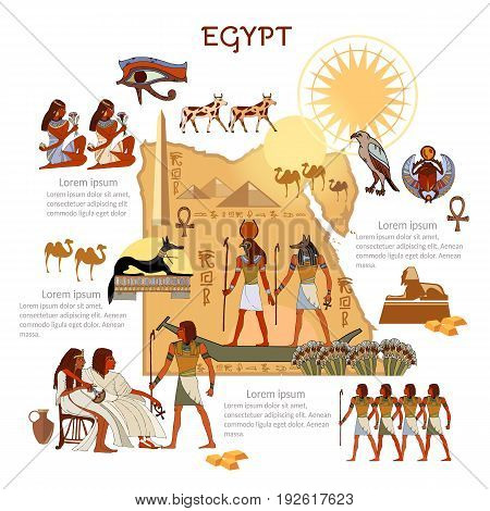 Ancient Egypt infographics. sights culture. Egyptian gods and pharaoh traditions map people. Ancient Egypt template elements
