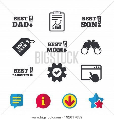 Best mom and dad, son and daughter icons. Awards with exclamation mark symbols. Browser window, Report and Service signs. Binoculars, Information and Download icons. Stars and Chat. Vector