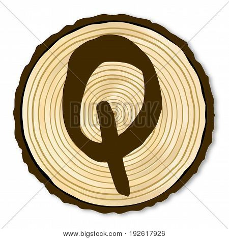 A light wood timber end section with the letter Q over a white background