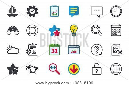 Travel icons. Sail boat with lifebuoy symbols. Cloud with sun weather sign. Palm tree. Chat, Report and Calendar signs. Stars, Statistics and Download icons. Question, Clock and Globe. Vector