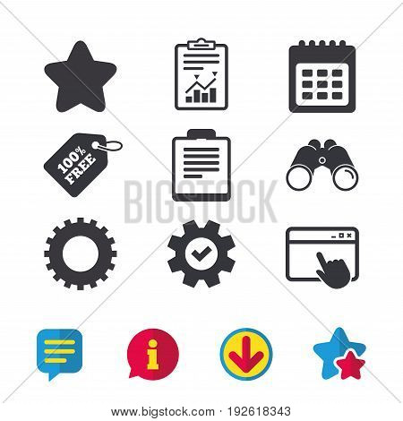 Calendar and Star favorite icons. Checklist and cogwheel gear sign symbols. Browser window, Report and Service signs. Binoculars, Information and Download icons. Stars and Chat. Vector