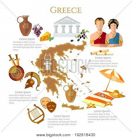 Ancient Greece and Ancient Rome infographics. sights culture traditions map ancient greece people. Template elements