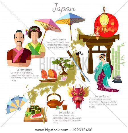 Japan sights culture japanese traditions map people Japan template elements