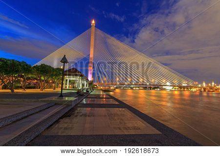 big bridge in the park / RAMA VIII bridge in night time