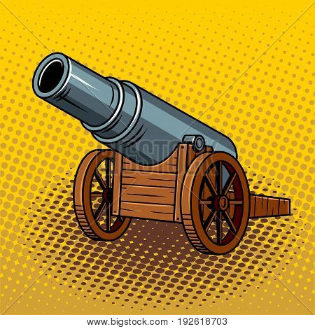 Ancient huge cannon pop art retro vector illustration. Comic book style imitation.