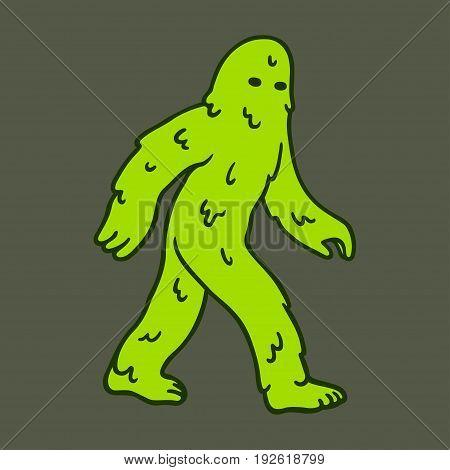 Green slimy cartoon swamp monster. Vector illustration.